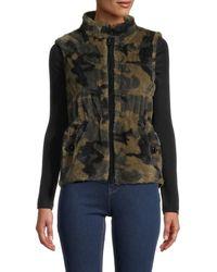 Jocelyn Camo Reversible Faux Fur Vest - Green