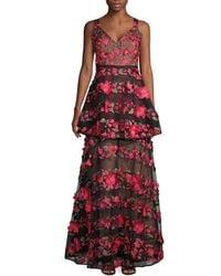Marchesa Floral-embroidered V-neck Gown - Black