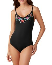 Tommy Bahama Mixed Floral-print Lace-up One-piece Swimsuit - Black