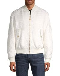 Versace Men's Embroidered Baseball-style Jacket - White - Size 50 (40)