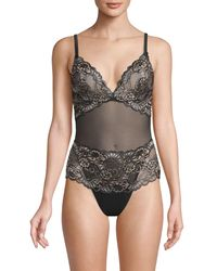 Mimi Holliday by Damaris Floral Embroidered Bodysuit - Black