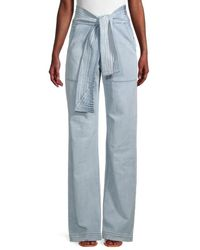 7 For All Mankind Belted Wide-leg Jeans - Blue