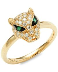 Effy Women's 14k Yellow Gold, Diamond & Emerald Ring/size 7 - Size 7 - Green