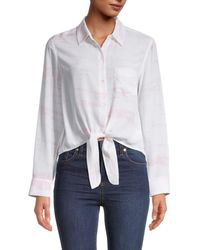 Rails Women's Self-tie Silk Shirt - Pink Tie Dye - Size S - White