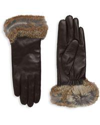 Surell Dyed Rabbit Fur-trim Leather Gloves - Black