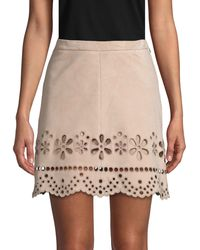 RED Valentino Laser-cut Suede Mini Skirt - Multicolor