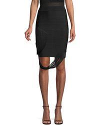 Hervé Léger Fringe Swag Bandage Skirt - Black