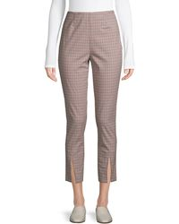 FRAME Plaid Stretch-cotton Cropped Pants - Natural