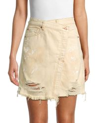 Free People Women's Faux-wrap Distressed Denim Skirt - Butter Cream - Size 25 (2) - Natural