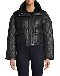 Bagatelle Faux Fur-trim Quilted Faux Leather Jacket - Black