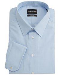 Emporio Armani Micro-check Cotton Dress Shirt - Blue