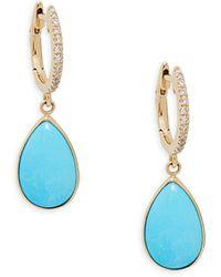 Effy 14k Gold Turquoise & Diamond Dangle Drop Earrings - Multicolour