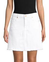 7 For All Mankind Denim A-line Skirt - White