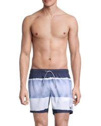 Emporio Armani Tie-dye Boxer-style Swim Trunks - Blue