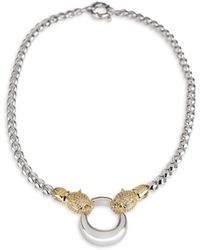 CZ by Kenneth Jay Lane Two-tone & Cubic Zirconia Pavé Panther Roll Chain Necklace - Metallic