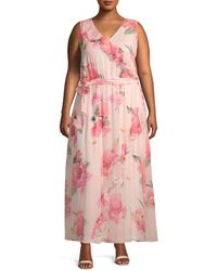 Calvin Klein Plus Ruffle Front Floral Maxi Dress - Pink