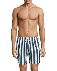 Trunks Surf & Swim Cuts Sano Striped Swim Trunks - Blue