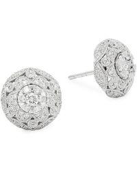 Effy - 14k White Gold Diamond Circle Stud Earrings - Lyst