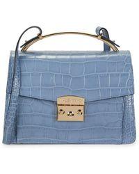 Valentino By Mario Valentino Women's Belle Crocodile-embossed Leather Crossbody Bag - Ocean Blue