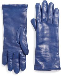 Saks Fifth Avenue Cashmere-lined Leather Gloves - Blue