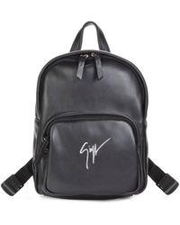 Giuseppe Zanotti Logo Leather Backpack - Black
