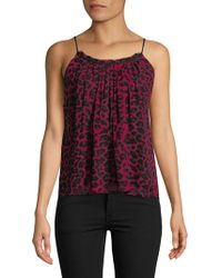 Ella Moss - Gathered Neck Printed Silk Top - Lyst