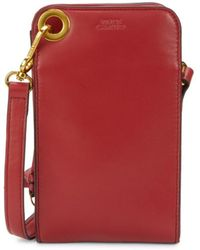 Vince Camuto Convertible Leather Phone Case Crossbody Bag - Red