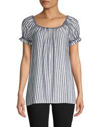 Max Studio Striped Off-the-shoulder Top - Black