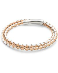 Tateossian Stainless Steel & Leather Double Wrap Bracelet - Multicolour