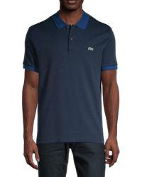 Lacoste Men's Ribbed Regular-fit Polo - Navy - Size 8 (xxxl) - Blue