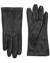 Saks Fifth Avenue Leather Cashmere Lined Tech Gloves - Black