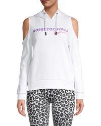 Roberto Cavalli Logo Cold-shoulder Cotton Hoodie - White