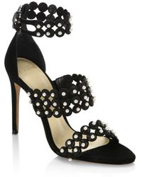 Alexandre Birman - Suede Sandal With Pearls - Lyst