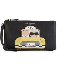 Karl Lagerfeld Faux Pearl Embellished Taxi Graphic Wristlet - Black