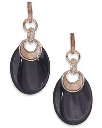 Alexis Bittar Pop Surrealist Lucite, Black Mother-of-pearl & Crystal Crescent Drop Earrings