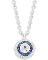 Judith Ripka - La Petite Sterling Silver Black & Blue Sapphire And White Topaz Evil Eye Pendant Necklace - Lyst