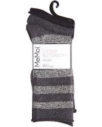 Memoi 3-pack Stripe Roll Top Crew Socks - Black
