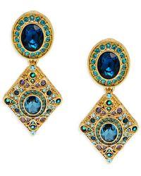 Heidi Daus Goldtone & Crystal Drop Earrings - Blue
