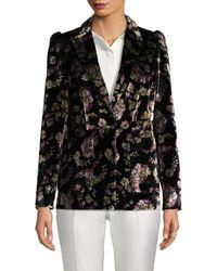 Rebecca Taylor Floral-print Velvet Blazer - Black