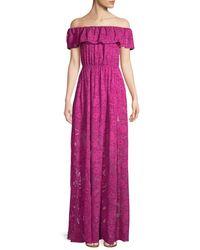 Rachel Zoe Clea Off-the-shoulder Burnout Gown - Purple