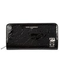 Karl Lagerfeld Logo Pvc Zip-around Wallet - Black
