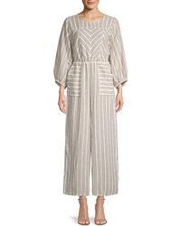 Free People Striped Cotton Jumpsuit - Multicolour