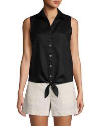Saks Fifth Avenue Tie-front Sleeveless Linen Shirt - Black