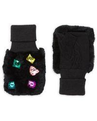 Glamourpuss Embellished Rabbit Fur-trim Mittens - Black