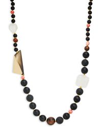 Alexis Bittar Wood, Coral & Crystal Beaded Long Necklace - Multicolour