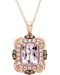 Le Vian 14k Strawberry Gold & Peach Morganite Pendant Necklace - Metallic
