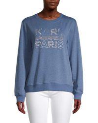 Karl Lagerfeld Karl Sequin Logo Sweatshirt - Blue