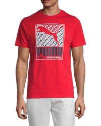 PUMA Men's Boxed Cat Logo T-shirt - Red - Size Xl