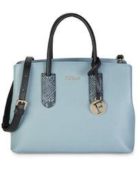 Furla Small Tessa Leather Tote - Blue