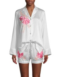 Natori - Two-piece Embroidered Floral Shorty Pyjama Set - Lyst